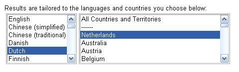 Google tool instellen op nederlandse resultaten